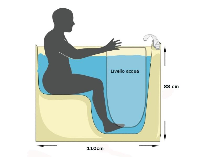 livello acqua e misure vasca con sportello Senena Small